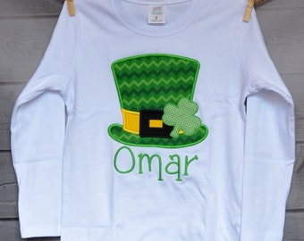 Personalized St. Patrick's Day Shamrock Hat Applique Shirt or Onesie Girl or Boy