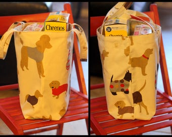 Medium upholstery quality canvas,cotton duck cloth tote with multi breed dog designs imported from England