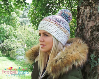 Central Park Crochet Hat Pattern Pom Pom hat Pattern 3 - 10 years / Teen / Adult sizes Chunky Crochet Hat pattern With photo tutorial!!! Pdf