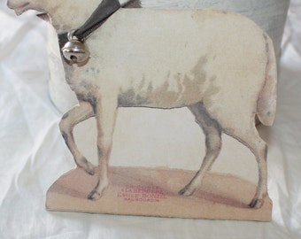 Vintage Style Cardboard Sheep Easter Decor From Old Image with Bell and Silk Bow