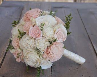 Blush Pink & Cream Sola Wood Bouquet, Blush Pink and Ivory Wedding Bouquet, Blush Pink Sola Bouquet, Pink Bouquet, Blush Pink Sola Flowers