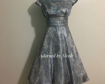 Silver Brocade Party Dress