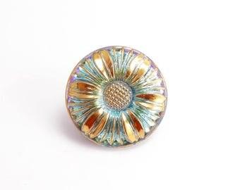 27mm AB Daisy Flower Czech Glass Button, Czech Button, Blue Flower Glass Button, Flower Czech Glass Button, AB Czech Button BUT0056