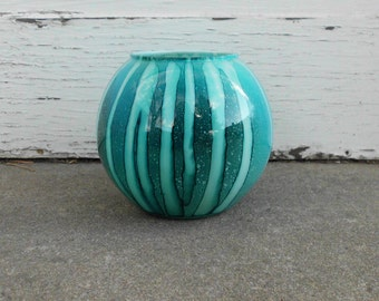 Teal & Turquoise Interior Painted Glass Vase