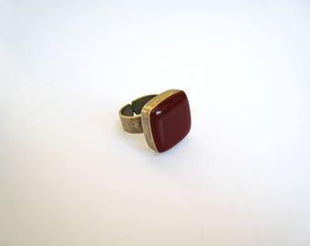 Dark red ring, bronze burgundy statement ring, garnet marsala wine red resin ring, crimson red square ring, modern minimalist jewelry