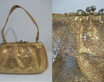 Luxurious 1950s embellished leather handbag w/high gloss golden finish- ultra luxe!