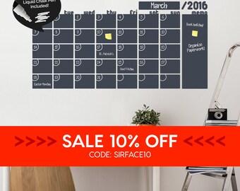 SALE • Write & Erase Adhesive Monthly Planner - Calendar Wall Decal Sticker - Liquid Chalk Marker - Chalkboard Wall Calendar