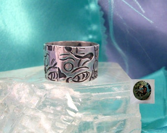 Mexican Sterling Silver Ring Wide Margot De Taxco Inspired Serpent Unisex Rare Size 9.5 Eagle Mark 1960s #761