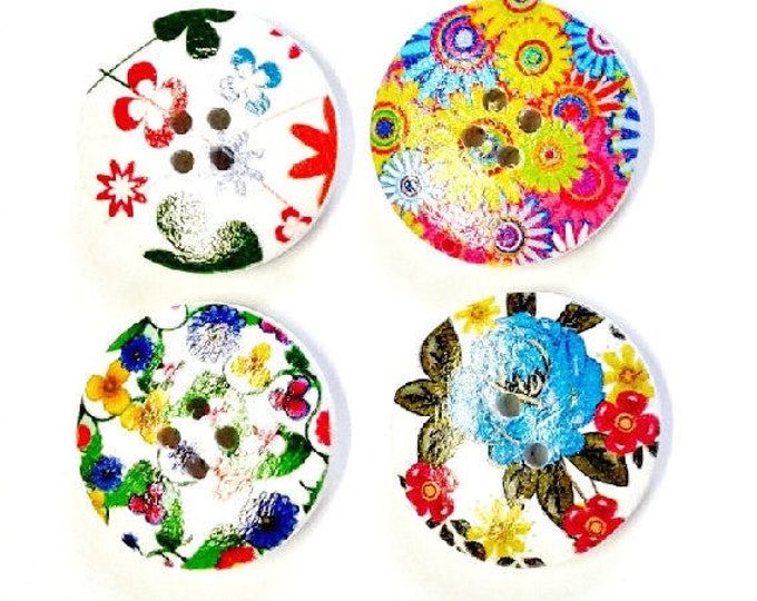 4 x 30mm Multicoloured 4 flower wooden buttons PACK 5
