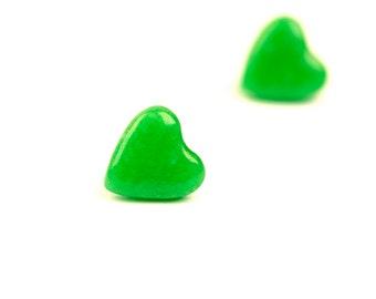Jade Heart Earrings, Faux Jade, Ear Studs, Post Earrings, Minimalist Jewelry, Jade, For Her, Modern Jewelry, Heart Earrings, Clay Jewelry