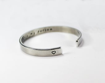 You're My Person Inside Message Cuff Bracelet, Grey's Anatomy TV Show Quote Bangle Bracelet, Love and Friendship Gift Cuff Bracelet