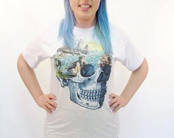 Mermaid Top Nautical Sailor Rockabilly Skull Oversized Tshirt