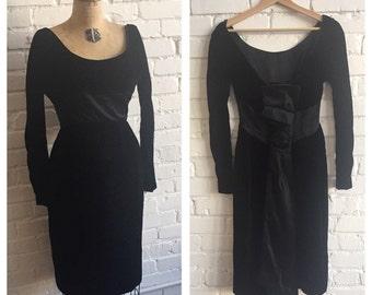 1960s Black Velvet Dress // 60s LBD Velvet Large Bow // Vintage 60s Black Dress