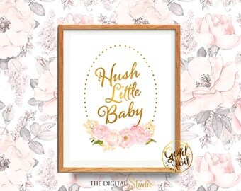 Hush Little Baby, Pink and Gold Nursery Art, Lullaby Art Print, Nursery Decor Gold, Baby Girl's Nursery Wall Art, Gold Nursery Decor