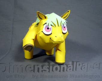 Fluffy Pony cardmodel - fantasy horse papercraft- fuzzy talkative imaginary friend - fan culture inspired creature - NOT my little pony