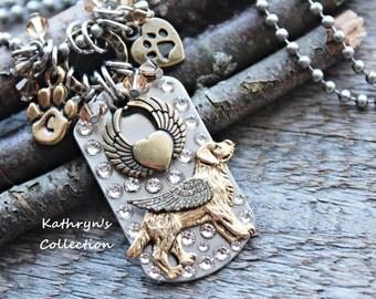 Golden Retriever Angel Necklace, Golden Retriever Jewelry, Golden Retriever Memorial Keepsake