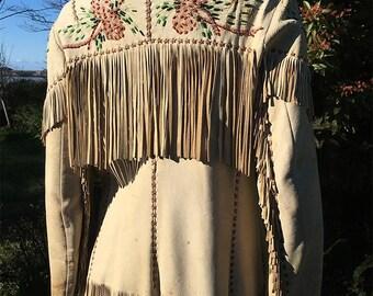 Vintage 50's Hand Painted & Beaded Fringed Deerskin Leather Jacket