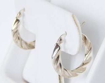 Sterling Silver Hoop Earrings - Twist Like Design - 925 Thai