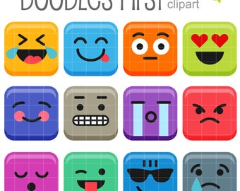Colorful Blocks Emoticons Clip Art for Scrapbooking Card Making Cupcake Toppers Paper Crafts