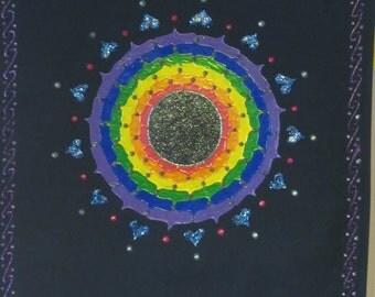 Rainbow Mandala Banner hand painting wall hanging, altar cloth, meditation banner, Rainbow tribe flag, Chakra banner