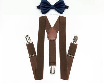 Dark Brown Suspenders, NAVY bowtie, Navy bow tie, bowtie, brown suspenders, Men suspenders, Children 5 yrs+, Navy and brown, brown and navy