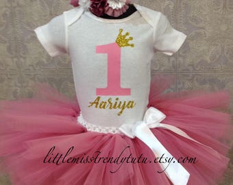 First Birthday Tutu Set, Rose Pink Gold 1st Birthday Set, Pink and Gold  Birthday Tutu Shirt Outfit with Headband