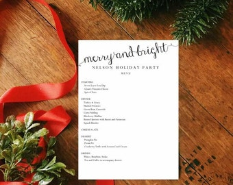 DIY Printable Holiday Menu, Buffet Cards, Place cards - Merry and Bright
