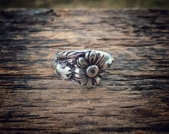 Rare Sunflower Sterling Spoon Ring