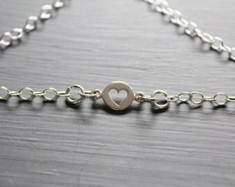 Sterling Silver Heart Cut Out Bracelet, Heart Cut Out Bracelet, Heart Bracelet, Silver Heart Bracelet, Heart Charm Bracelet