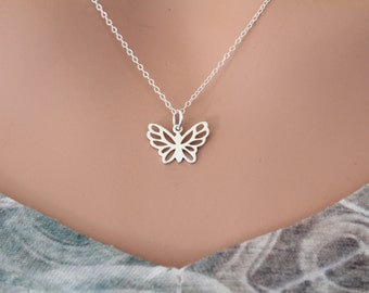 Sterling Silver Butterfly Necklace, Silver Openwork Butterfly Charm Necklace, Butterfly Necklace, Silver Butterfly Necklace, Cute Butterfly