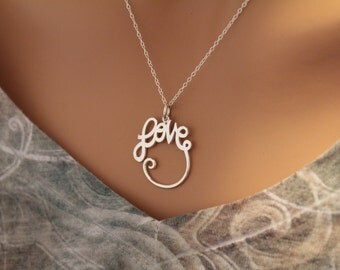 Sterling Silver Love Pendant Necklace, Cursive Love Charm Holder Necklace, Love Necklace, Love Word Necklace, Silver Love Charm Necklace