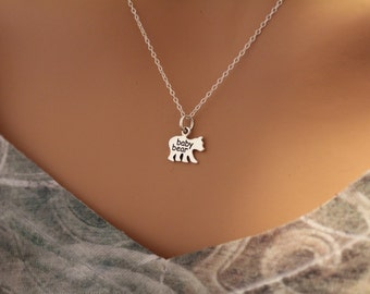 Sterling Silver Baby Bear Charm Necklace, Baby Bear Necklace, Silver Baby Bear Necklace, Bear Necklace, Baby Bear Pendant Necklace