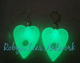 Green Glow in the Dark Ouija Board Planchette Earrings on Silver, Bronze, Gold or Gunmetal Hooks or Leverbacks. Small. UV, Horror, Spirit