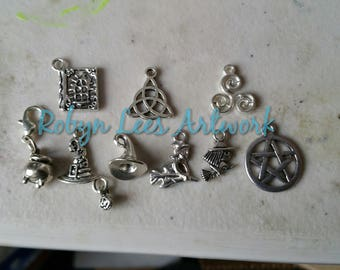 Small Clip On Silver Charms Pentagram, Triquetra, Triskelion, Cauldron, Spell Book, Flying Witch, Witch's Hat. Wiccan, Pagan, Magic