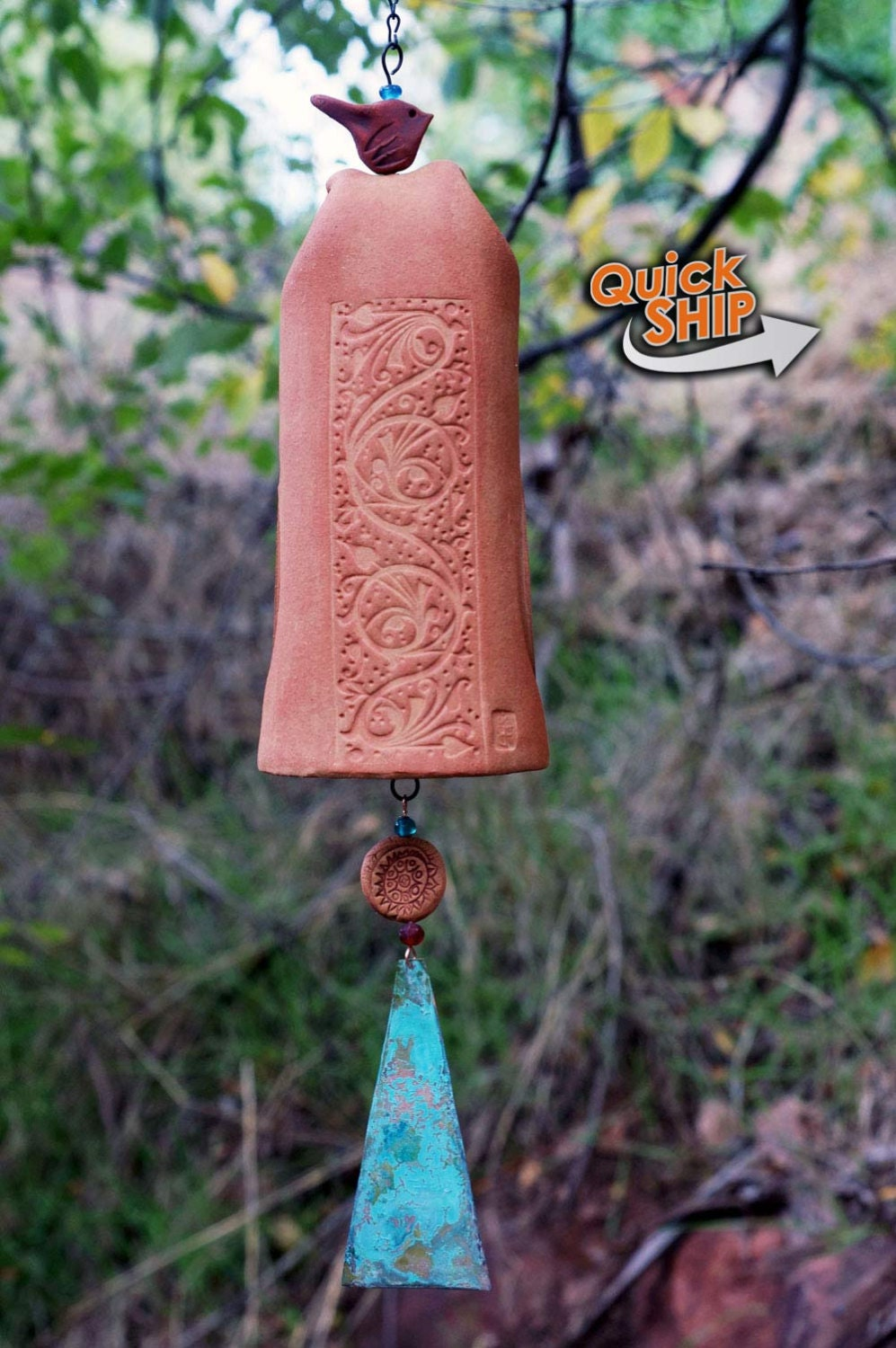 unique ceramic wind chime garden bell with vines and floral. Black Bedroom Furniture Sets. Home Design Ideas