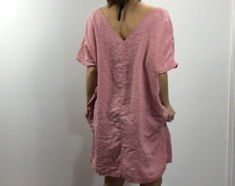 Cover-up / Layering Dress Linen / Reversible / Light / Dusty Pink