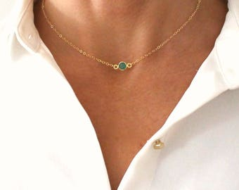 14k Solid gold Choker Solitaire Birthstone Necklace Real solitaire diamond Sapphire amethyst peridot aquamarine emerald ruby citrin topaz