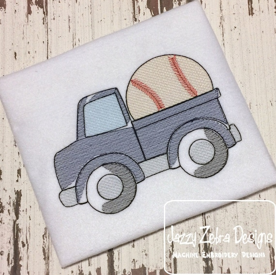 Truck with baseball Sketch Embroidery Design - truck Sketch Embroidery Design - baseball Sketch Embroidery Design - boy Sketch Embroidery