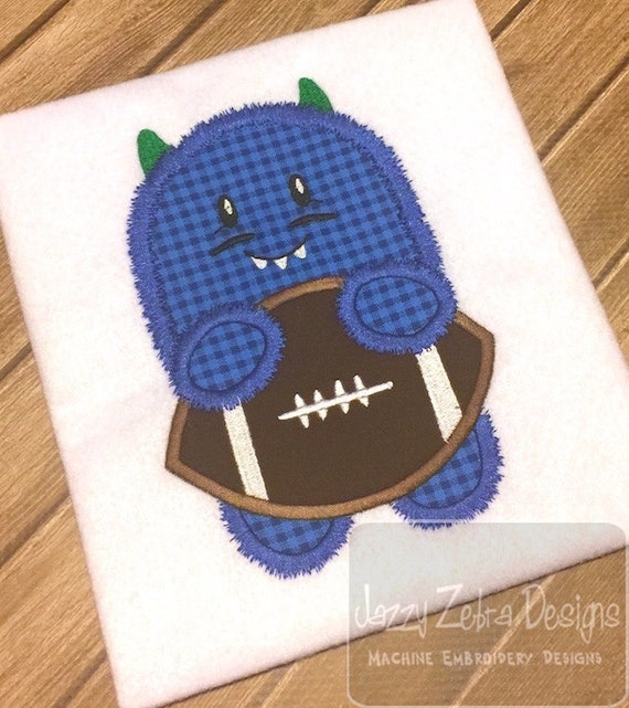 Fuzzy Monster with football Applique Embroidery Design - football appliqué design - monster appliqué design