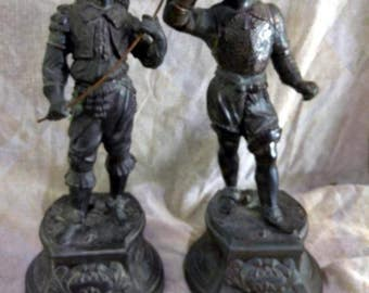 Pair of Two 2 Old Antique Spelter Metal Statues Cavalier Musketeers Swords Men
