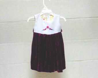 Rich Purple Velveteen Dress for girls