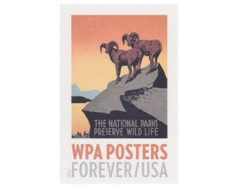 10 Unused Postage Stamps - 2017 49c Forever WPA Posters Series - National Parks / Preserve Wildlife