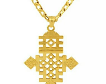 Ethiopian Cross Necklace | 18K Gold Filled | Link Chain | African Jewelry