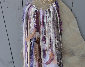 Bohemian Dreamcatcher, Woodland, Fairy collection, Fantasy, Whimsical, Nature, Enchanted forest, Flowers, Boho, Purple, Gold , Mossy