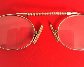 Antique pince nez, pince nez eyeglasses, astig eyeglasses, vintage eyeglasses, vintage pince nez, gold rimmed pince nez, gold filled, astig