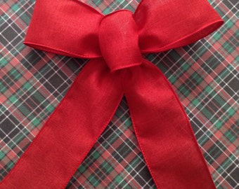 Red Decorative Bows / Christmas Red Bows / Christmas Tree Bows / Set of 7 / Red Christmas Bows / Red Bows / Handmade and Design Wired Ribbon