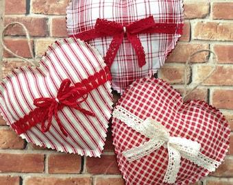 Christmas Hearts Ornaments / Set of 3 / Xmas Hanging Hearts Ornaments / Vintage Christmas Ornaments / Fabric - Homespun Xmas Hearts Decor