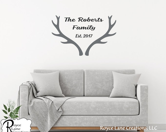Antlers with Family Name-Name and Antlers-Family Name with Antlers-Last Name with Antlers-Antlers Wall Decal-Personalized Antlers Decal