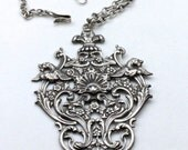 Reserved for Beatrice - Vintage Large Silver Medallion Finely Detailed Flowers Griffins Pendant Necklace