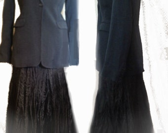 "Vintage Jacket Riding coat Hacking  Style Vintage Jacket Tweed Check Black Collar Long Sleeves 10 Bust 36"""